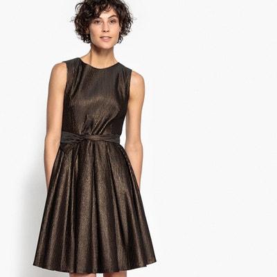 Metallic Skater Dress with Tie Waist Metallic Skater Dress with Tie Waist MADEMOISELLE R