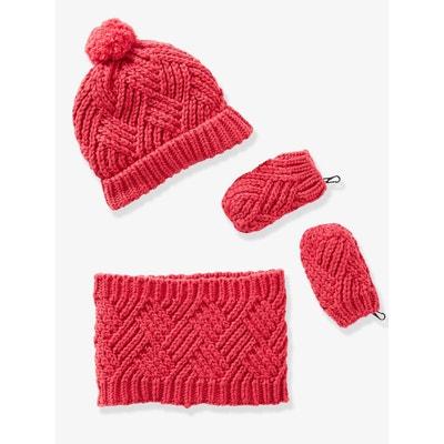 Ensemble bébé bonnet, moufles et snood en tricot fantaisie Ensemble bébé  bonnet, moufles et d5ecd108584