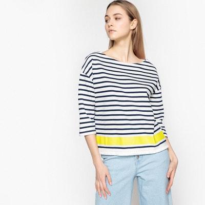 Sweater met wijde ronde hals en 3/4 mouwen, gestreept La Redoute Collections