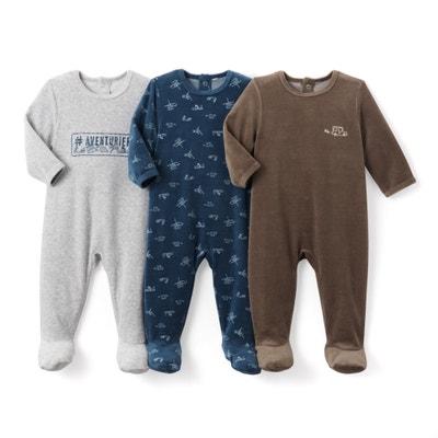 6739b672f7683 Lot de 3 pyjamas imprimés en velours 0 mois-3 ans La Redoute Collections