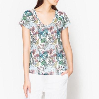 Bedrucktes T-Shirt mit V-Ausschnitt Bedrucktes T-Shirt mit V-Ausschnitt MARIE SIXTINE