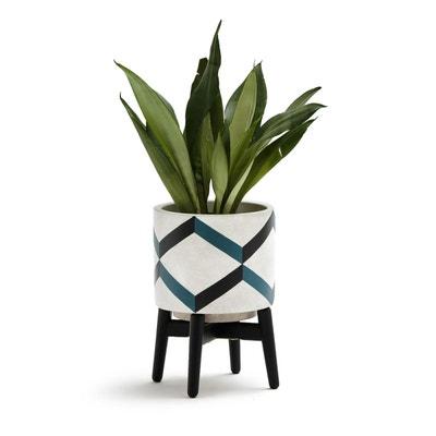 Cache-pot sur pied en céramique et bois, GRAFICO Cache-pot sur pied en céramique et bois, GRAFICO La Redoute Interieurs