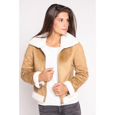 a1a281aff4e57 Veste col sherpa façon peau lainée Veste col sherpa façon peau lainée  CACHE-CACHE. Soldes