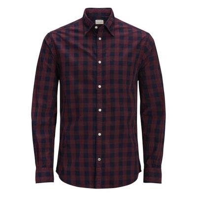 Camisa direita aos quadrados, mangas compridas Camisa direita aos quadrados, mangas compridas JACK & JONES