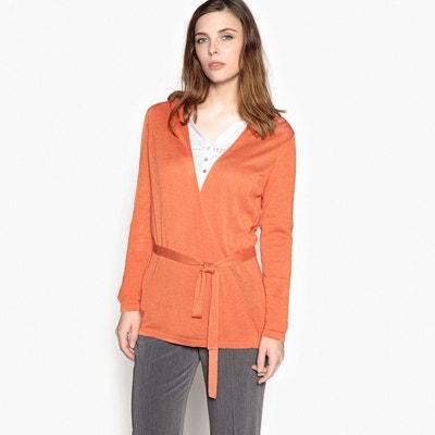Gilet long femme orange en solde   La Redoute fb0b29a2d7a7