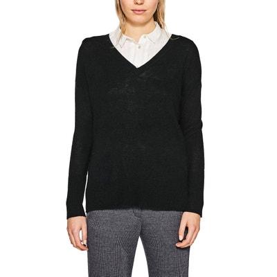 Pullover, V-Ausschnitt, Feinstrick ESPRIT