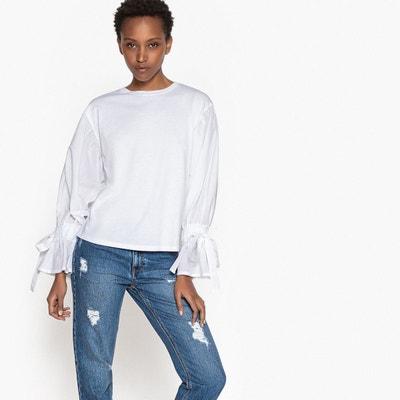 Tee shirt uni bi-matière, lien à nouer aux manches La Redoute Collections