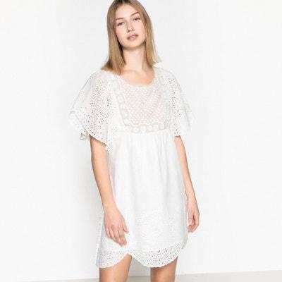 Kurzärmeliges Kleid mit Lochstickerei, kurze Form SEE U SOON