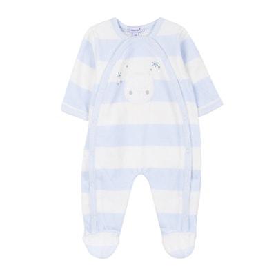 Gestreepte pyjama in fluweel, 1 mnd - 9 mnd Gestreepte pyjama in fluweel, 1 mnd - 9 mnd ABSORBA
