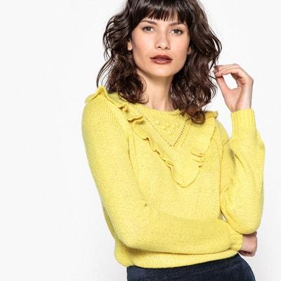 Moherowy pulower z falbankami i ażurowymi elementami dekoracyjnymi MADEMOISELLE R