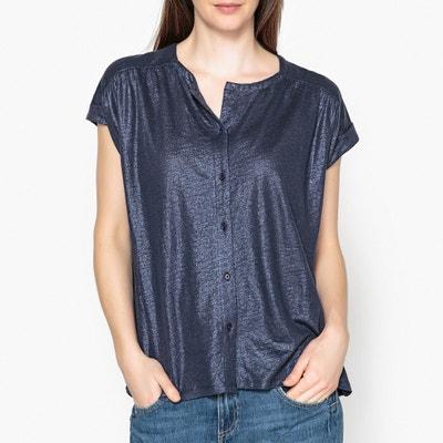 Tee shirt boutonné manches courtes en lin MARIE SIXTINE