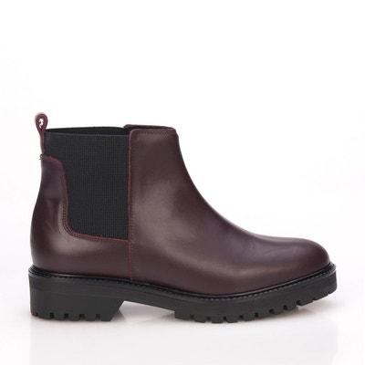 d8dc93d9e412c Eva Lopez Bottes en Cuir Chelsea Femmes Leather Boots Hiver MARIA BARCELO