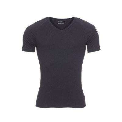 Tee-shirt col rond V en coton stretch floqué sur l épaule Tee- ee482d51ddfe