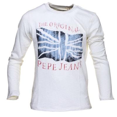 5f8e2b432e7ec T Shirt garçon Pepe Jeans Jay Jr Pb500987 803 Off White T Shirt garçon Pepe  Jeans