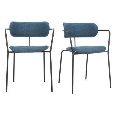 Chaises design empilables en métal tissu canard (lot de 2) ANGEL Chaises design empilables en métal tissu canard (lot de 2) ANGEL MILIBOO
