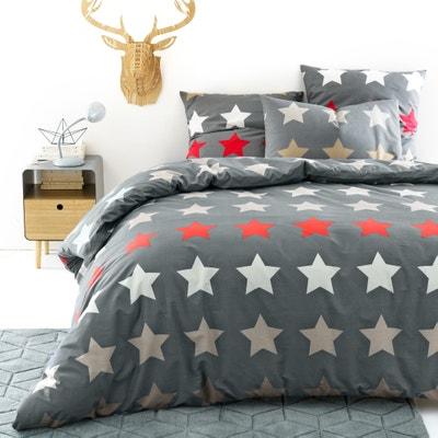 Capa de edredon estampada, STARS, antracite Capa de edredon estampada, STARS, antracite La Redoute Interieurs