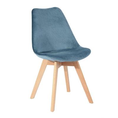 Chaise scandinave en velours bleu canard 49x53xH84cm STOCKHOLM PIER IMPORT