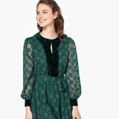 Tie-Waist Velvet Detail Dress Tie-Waist Velvet Detail Dress La Redoute Collections