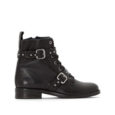 Ботинки кожаные на шнуровке с пряжками Ботинки кожаные на шнуровке с пряжками MUSTANG SHOES