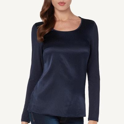 95f43f4e8682f T-Shirt à manches longues en soie et T-Shirt à manches longues en. Soldes