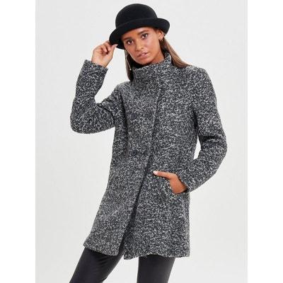 Manteau gris texture en laine melangee
