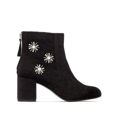 Boots à talon, aspect velours, détail bijoux MADEMOISELLE R