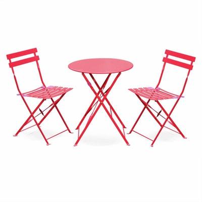 Salon De Jardin Bistrot Pliable Emilia Rond Rouge Framboise Table 60cm Avec 2 Chaises