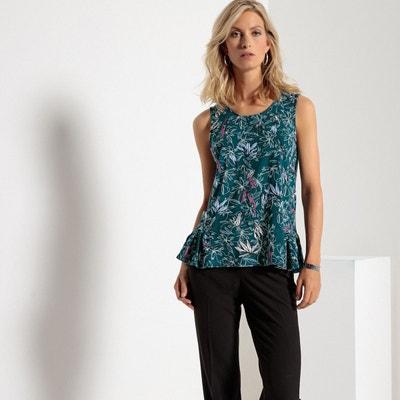 T-shirt col rond, sans manches, imprimé ANNE WEYBURN