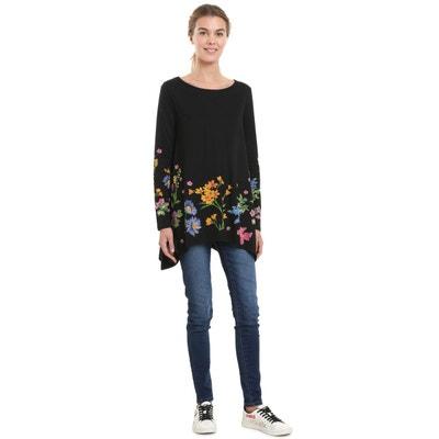 Tee shirt  col rond manches longues imprimé floral DESIGUAL