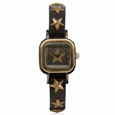 Montre au bracelet noir clouté aux étoiles Montre au bracelet noir clouté aux étoiles EXOTIC EXPRESS