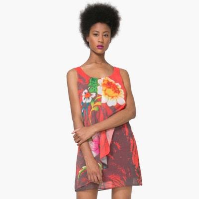 Vestido curto sem mangas, estampado floral DESIGUAL