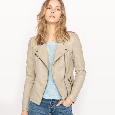 Manteau motard femme beige