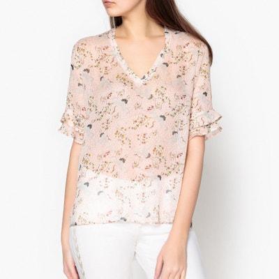 Bedruckte Bluse mit V-Ausschnitt IKKS