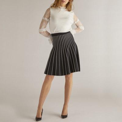 Pleated Striped Knee-Length Skirt Pleated Striped Knee-Length Skirt RENE DERHY