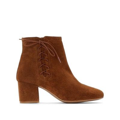 Boots croûte de cuir vachette Boots croûte de cuir vachette LA REDOUTE  COLLECTIONS. Soldes 78c2e085ee8f