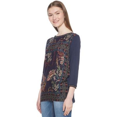 Tee shirt  col rond manches 3/4 imprimé floral Tee shirt  col rond manches 3/4 imprimé floral DESIGUAL
