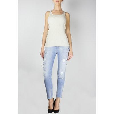 Jeans skinny destroy, fondo delle gambe con cerniere Jeans skinny destroy, fondo delle gambe con cerniere LE TEMPS DES CERISES