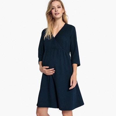 Robe de grossesse, forme cache-coeur, manches 3/4 Robe de grossesse, forme cache-coeur, manches 3/4 La Redoute Maternité