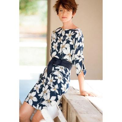 Bedrucktes Kleid mit 3/4-Ärmeln Bedrucktes Kleid mit 3/4-Ärmeln R studio