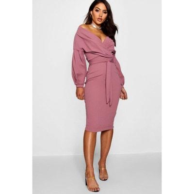Robe -longue à épaules dénudées avec jupe enveloppe BOOHOO