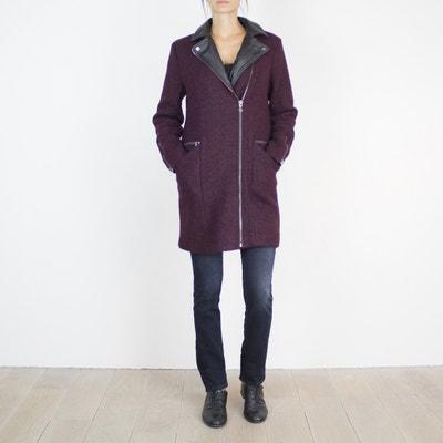 Manteau femme coupe droite bi-matière LE TEMPS DES CERISES