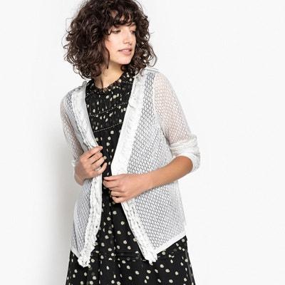 Ruffle Trim Openwork Knit Cardigan MADEMOISELLE R