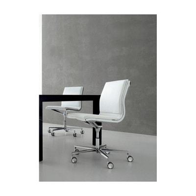Chaise De Bureau HOWIE Sans Accoudoirs En Cuir Blanc