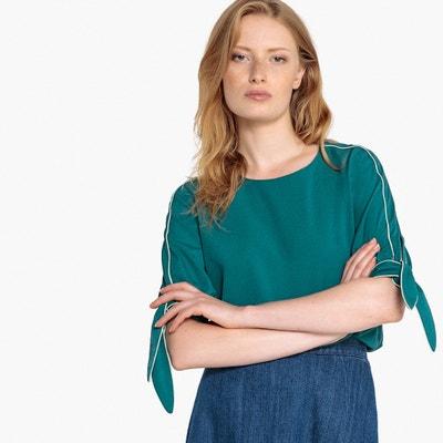 Blusa com gola redonda, mangas 3/4, para atar Blusa com gola redonda, mangas 3/4, para atar La Redoute Collections