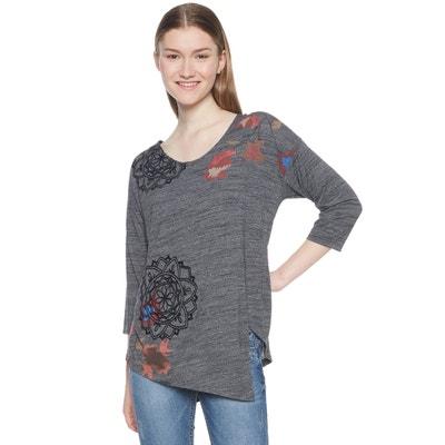 T-shirt scollo rotondo UMA maniche a 3/4 fantasia a fiori T-shirt scollo rotondo UMA maniche a 3/4 fantasia a fiori DESIGUAL