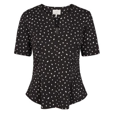 Kurzärmelige Bluse mit Rundhalsausschnitt und Tupfenmuster Kurzärmelige Bluse mit Rundhalsausschnitt und Tupfenmuster NUMPH
