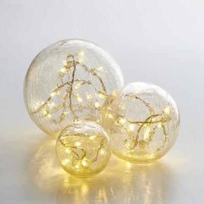 Boules en verre craquelé Eudia, lot de 3 Boules en verre craquelé Eudia, lot de 3 LA REDOUTE INTERIEURS
