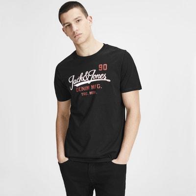 Tee shirt  col rond manches courtes imprimé devant JACK & JONES