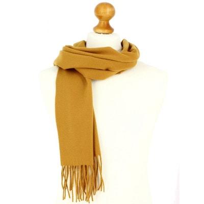 9d0e41c838217 Echarpe jaune moutarde luxe unie en laine d Australie, 37x180cm TONY ET PAUL