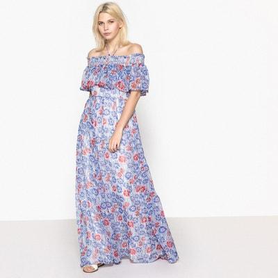 Floral Print Maxi Bardot Dress PEPE JEANS